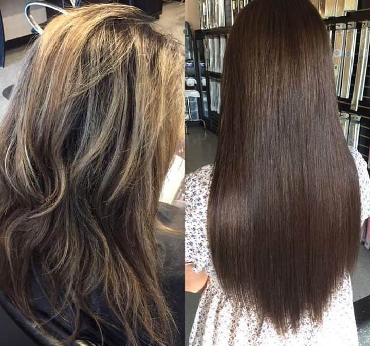 Flawless before and after done by Reina  #extensionaddictionsalon  #hairextensio…