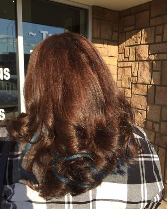 New Beautiful Brown with some blue extension peek a boo's! By Reina