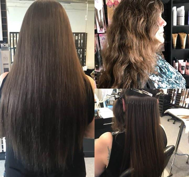Before and after 20 inch hair extensions done by reina - Addiction hair salon ...
