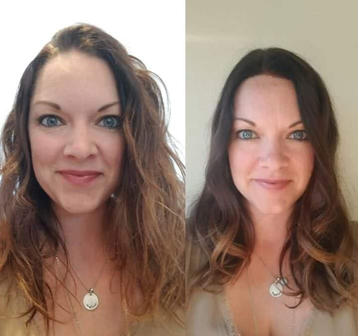 Before (left) and  after (right). Root touch-up, dead ends taken off… And some…