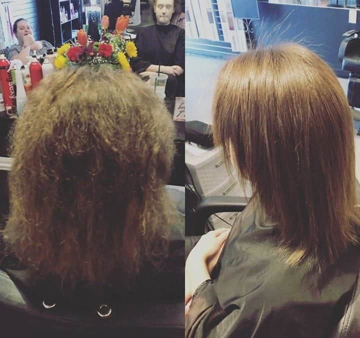 Brazilian blowout before and after by Kynzie!   #behindthechair  #nbrextensions …