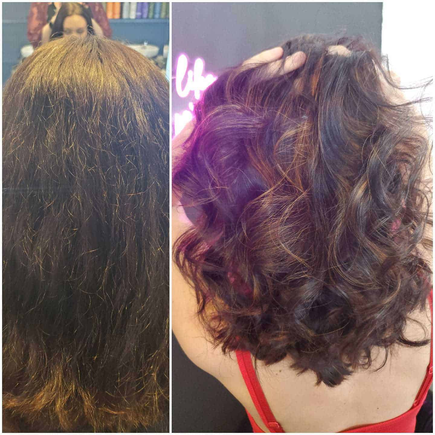 This fresh color and carmel highlight is just what she needed to spice up her lo…