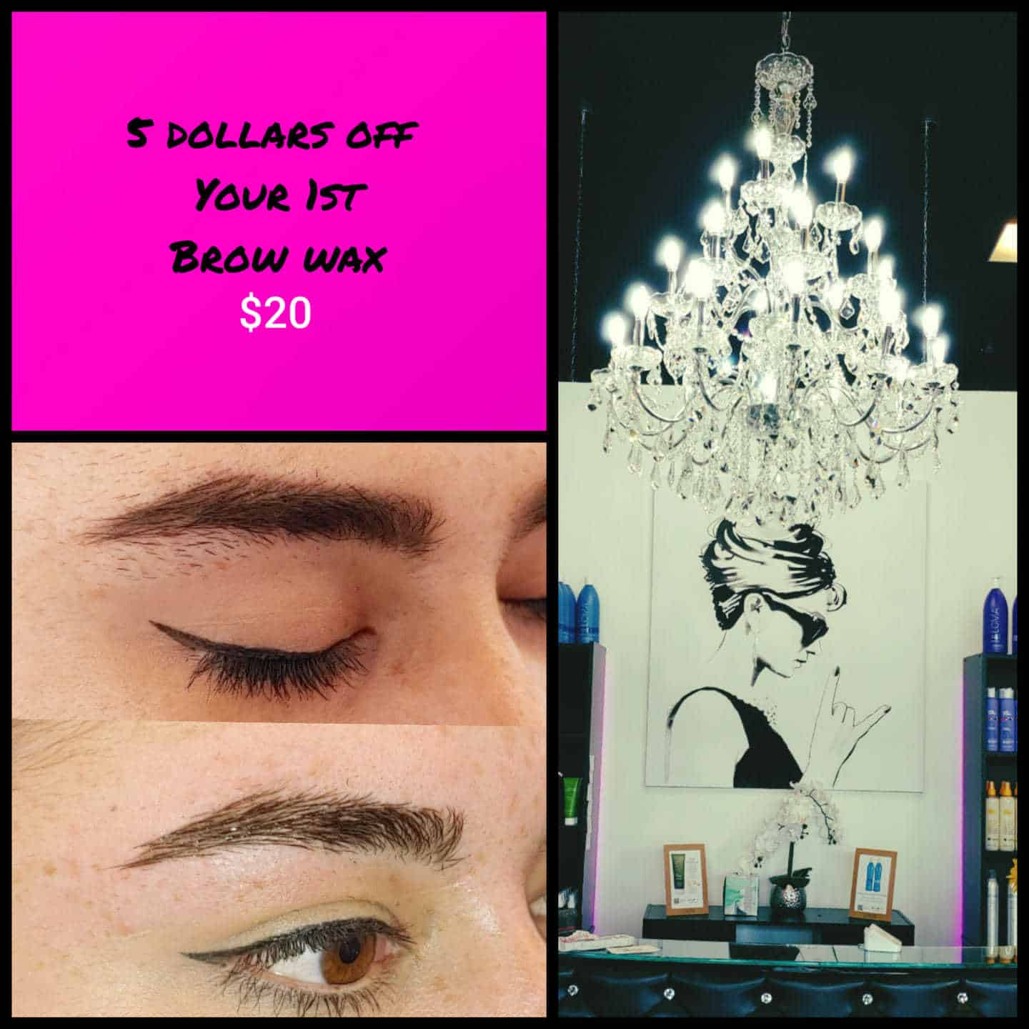 5 DOLLARS OFF YOUR 1ST BROW WAX Say goodbye to those crazy quarantine brows!  C…